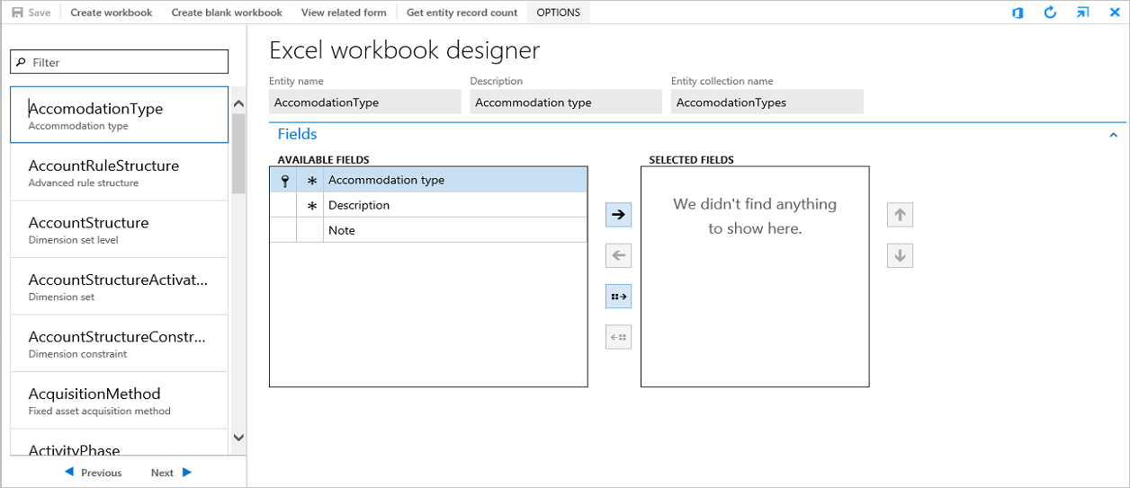 Excel workbook designer form