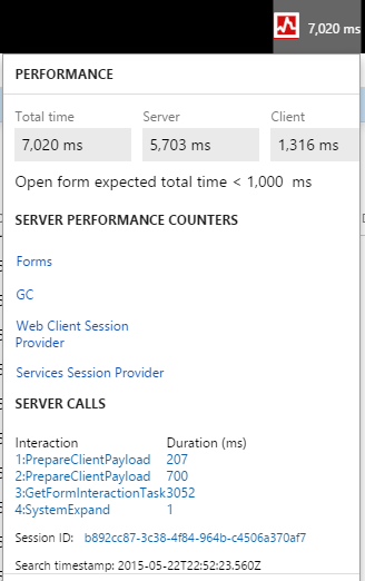 Screen shot showing server performance counters