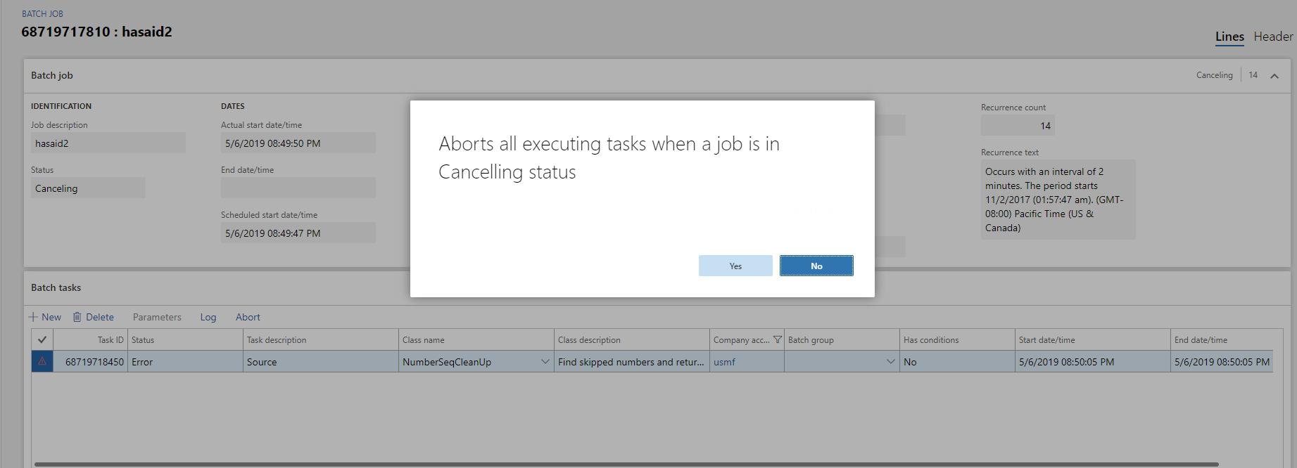 中止正在执行的批处理作业 / Abort an executing batch job