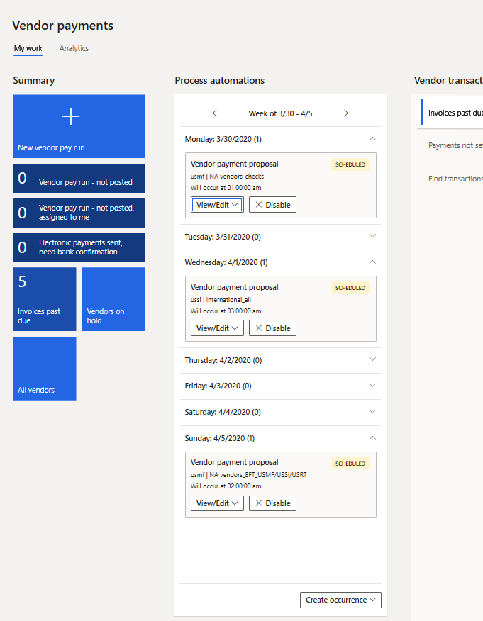 Process automation weekly view in the Vendor payments workspace