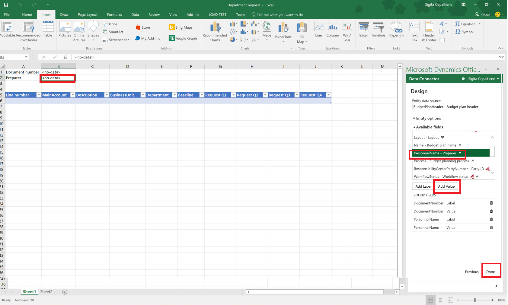 add a calculated column to budget plan document template table
