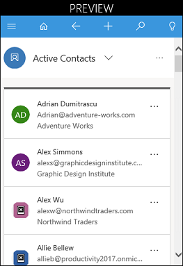 Outlook app list items example