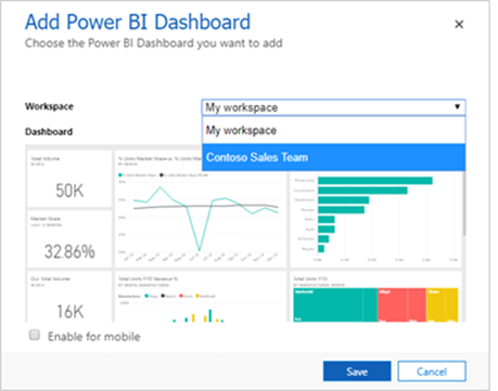 Power BI dialog with group-based workspaces