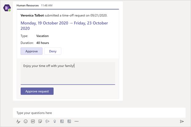 Laisser une notification de demande dans l'application Équipes des ressources humaines