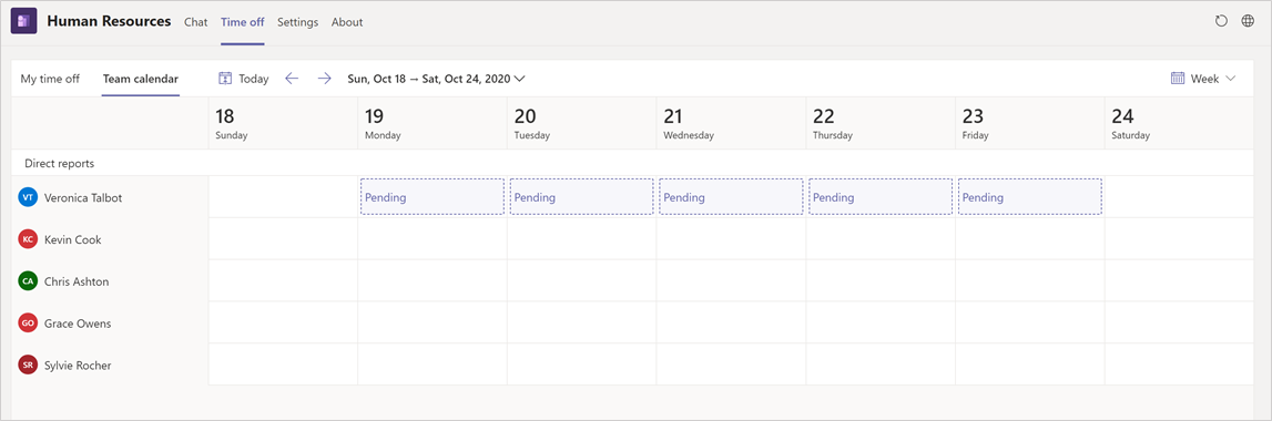 View calendar in Human Resources Teams app