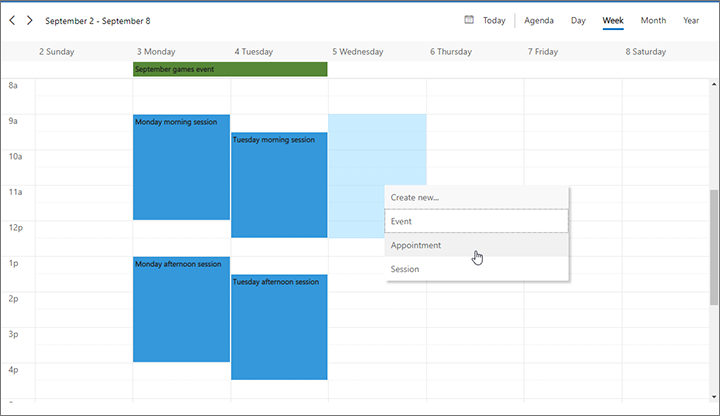 View and create time-based items with the marketing calendar