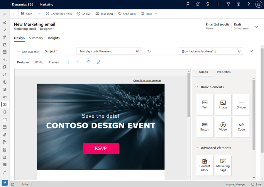 Email designer screenshot