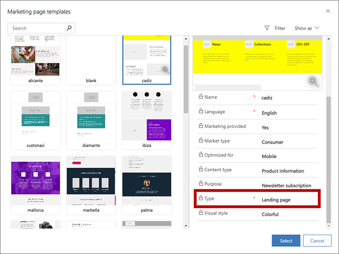 create a landing page dynamics 365 for marketing microsoft docs