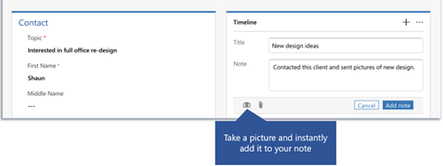 Dynamics 365 for phones and tablets add picture to notes