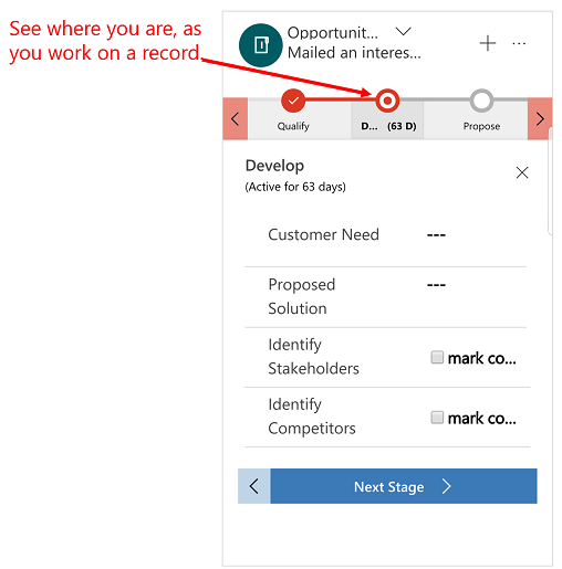 Dynamics 365 for phones and tablets business process flow