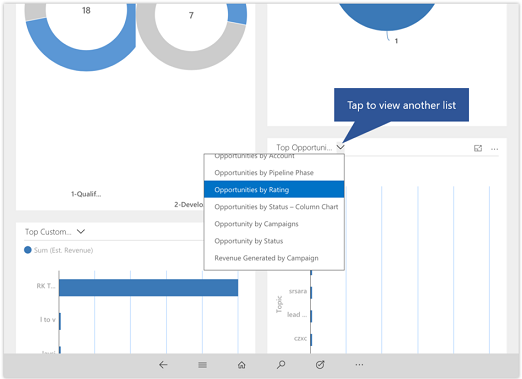 Dynamics 365 for phones and tablets change view for a list on dashboard