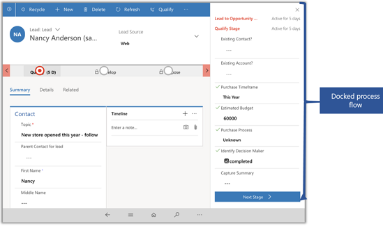Dynamics 365 for phones and tablets docked business process flow