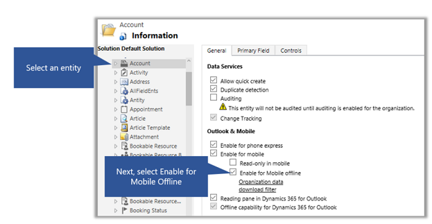 Enable an entity for mobile offline