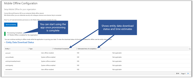 Dynamics 365 for phones and tablets mobile offline sync status