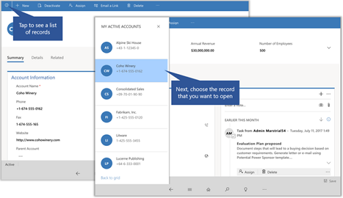 Dynamics 365 for phones and tablets open a record