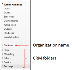 Dynamics 365 for Outlook navigation pane