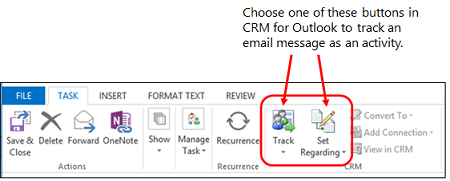 Tracking buttons on Dynamics 365 for Outlook ribbon