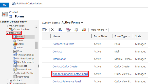 Contact entity form