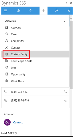 Custom entity in Quick create