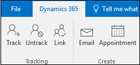 Dynamics 365 App for Outlook contact tracking ribbon