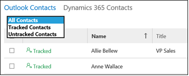 Dynamics 365 App for Outlook with contract tracking filter drop-down