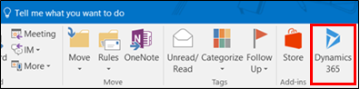 Dynamics 365 App for Outlook ribbon