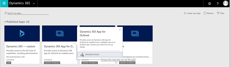Dynamics 365 Manage Roles page