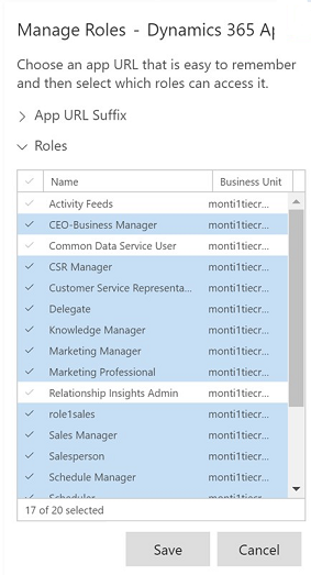 Dynamics 365 select a Role