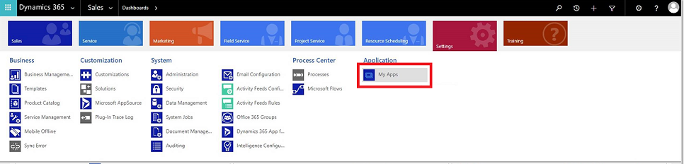 Dynamics 365 My Apps page
