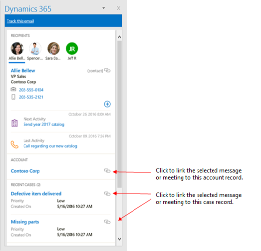 Set regarding button in Dynamics 365 App for Outlook pane