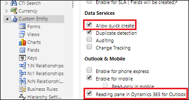 Enable entity settings for quick create display
