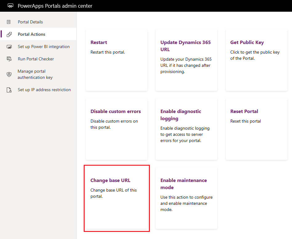 Change the base URL of a Dynamics 365 for Customer Engagement portal