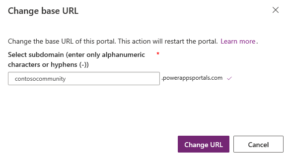 Change the base URL of a Dynamics 365 for Customer