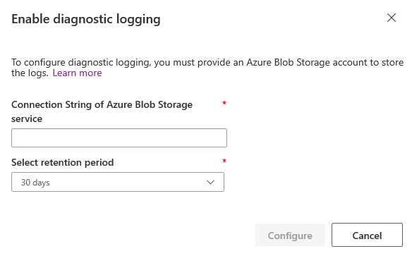 Viewing portal error logs and storing them in Azure Blob storage