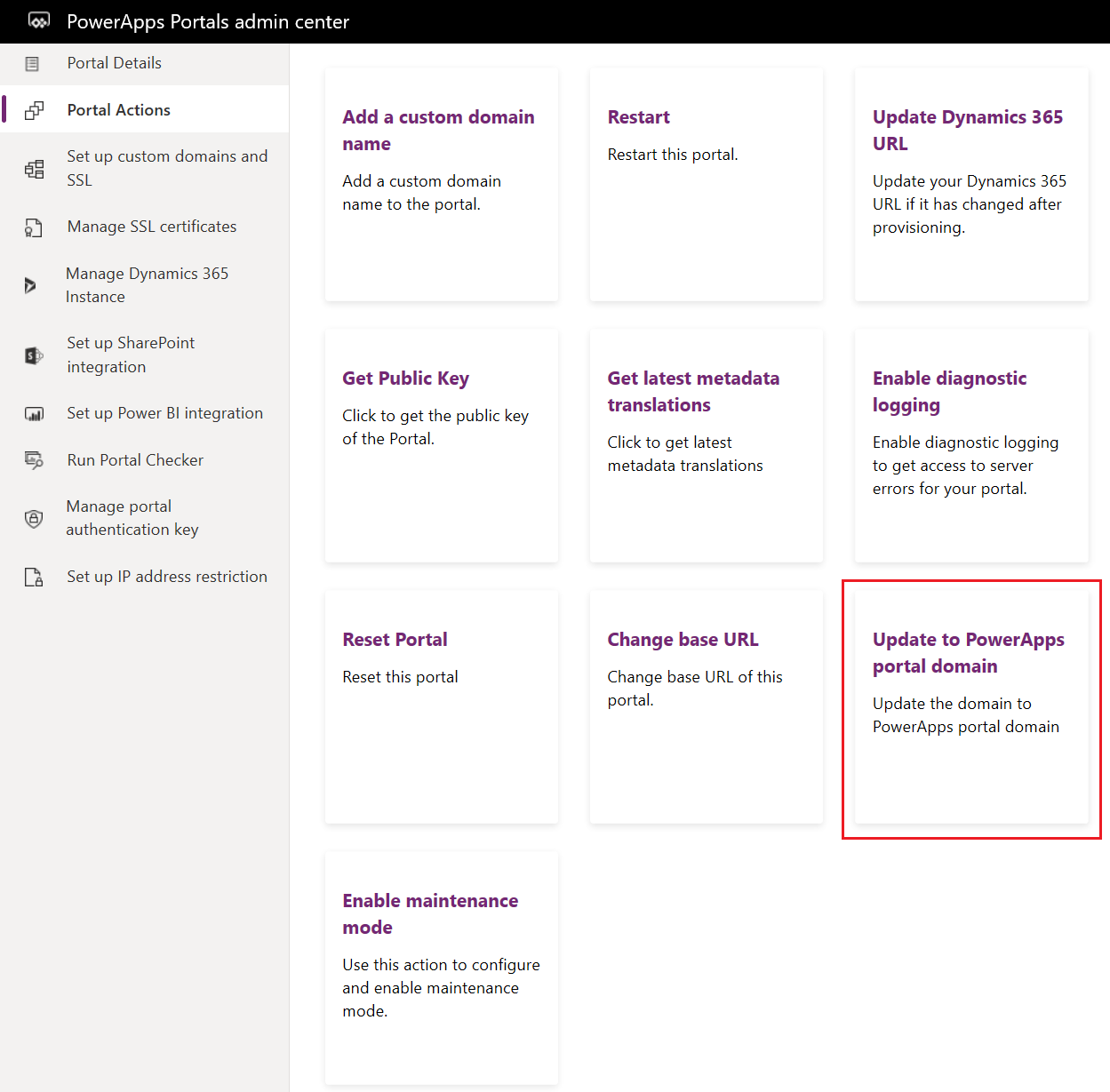 Update from Dynamics 365 domain to PowerApps Portals domain
