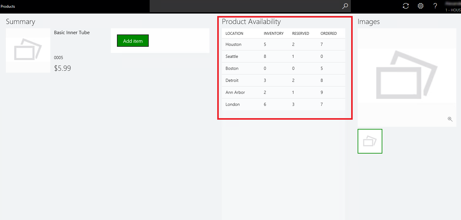 Product Availability Information In The Product Details View
