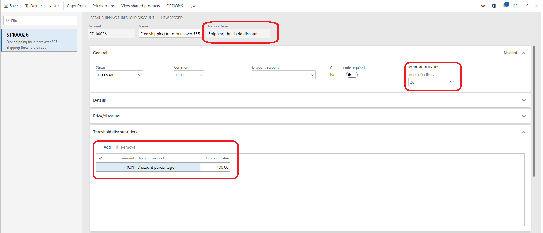 Shipping discount overview - Retail | Dynamics 365