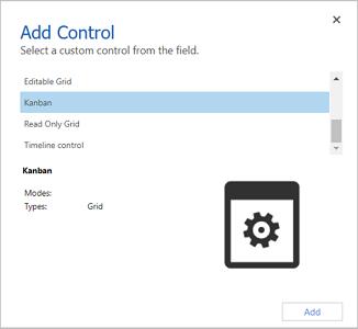Add Control dialog box