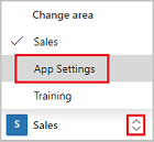 Select app settings from change area