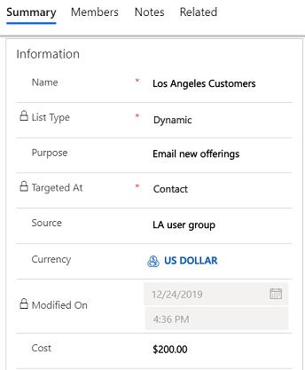 Example of marketing list summary area