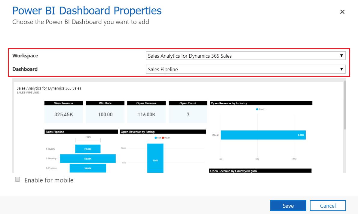 Power BI Dashboard properties