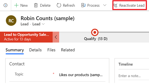 Shows reactivating a lead in Dynamics 365