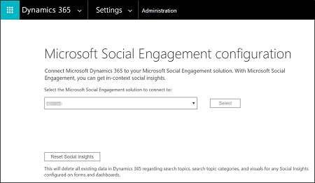 Social engagement integration with dynamics 365 microsoft docs microsoft social engagement configuration view fandeluxe Images