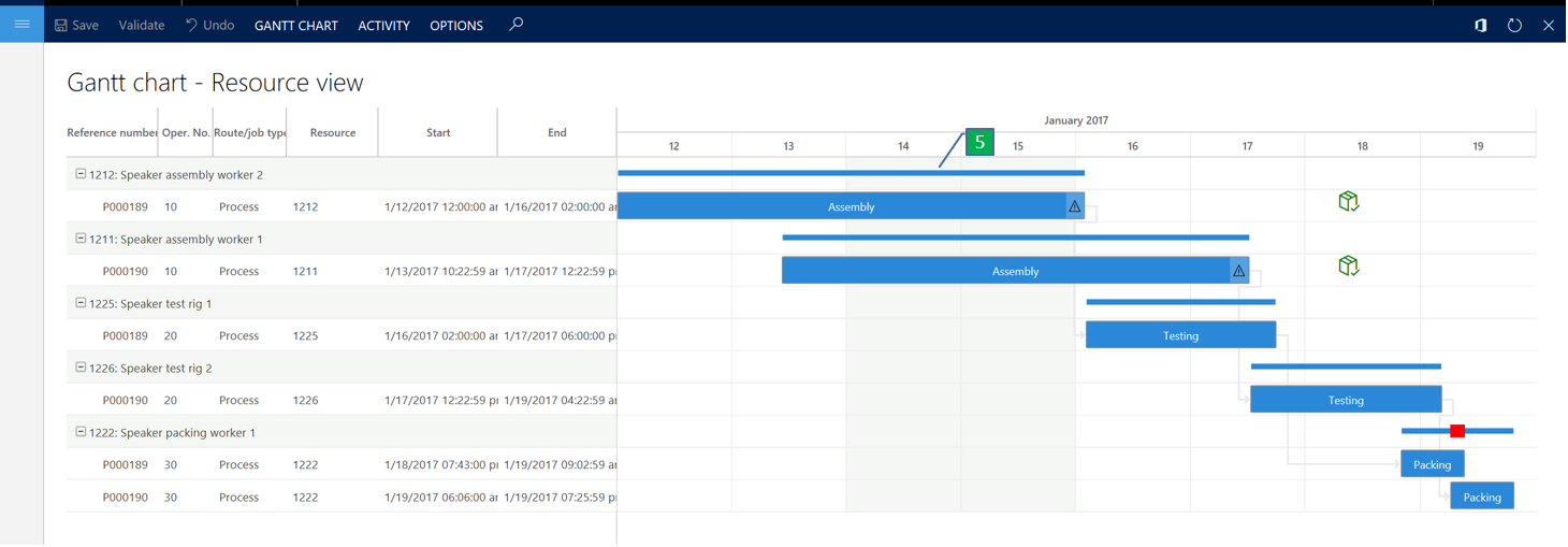Gantt chart for job scheduling finance operations dynamics 365 resource view ccuart Gallery