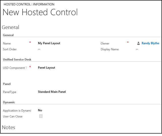 Panel Layout (Hosted Control) in Unified Service Desk for