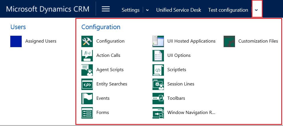 Menu With Components Added To Configuration