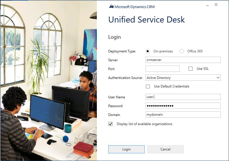 Unified Service Desk Client Login Screen