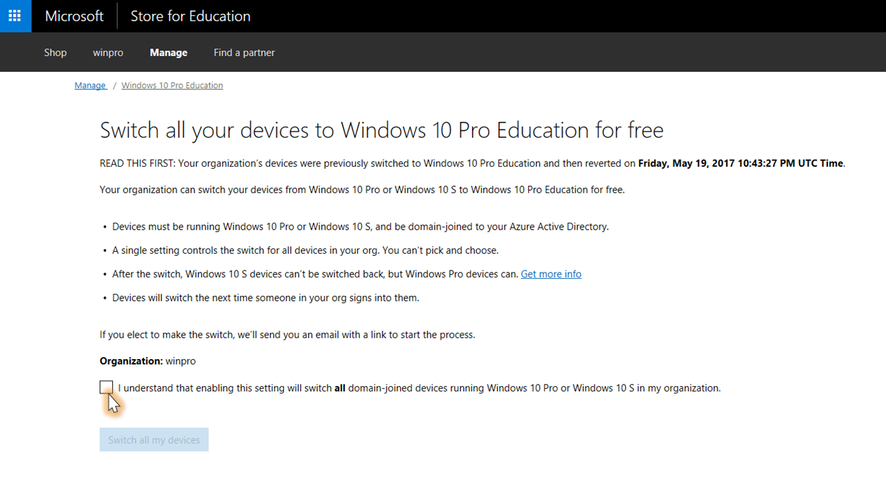 Change to Windows 10 Education from Windows 10 Pro