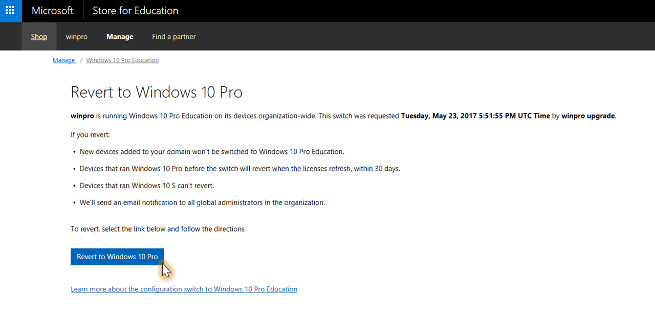 Switch to windows 10 pro education from windows 10 pro or windows roll back windows 10 pro education to windows 10 pro ccuart
