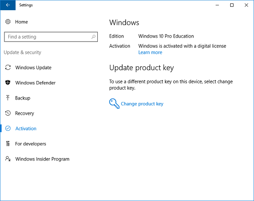 Change to windows 10 education from windows 10 pro microsoft docs windows 10 activated and subscription active ccuart Choice Image